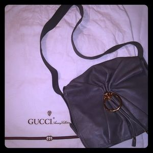 Vintage Gucci Stone Gray Leather Messenger Bag NEW